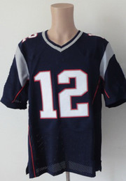 Wholesale Elite American Football - #12 Blue Elite Jerseys American Football Jersey Rugby Ball Jersey Size M~3XL