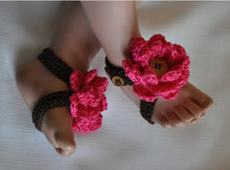 Wholesale Crochet Baby Summer Barefoot Sandals - 15%off!Crochet shoes sandals Baby Crib Shoes Baptism Shoes Footwear toddler shoes Baby Barefoot Sandals! 5pairs 10pcs