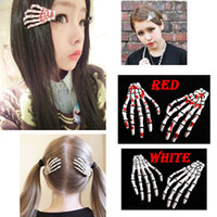 Wholesale Goth Lolita - HOT! Fashion punk hair clips !New skeleton hand hair clips  Lolita Rockabilly Goth  clip free shippi