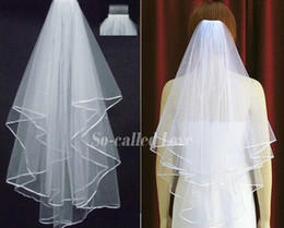 Wholesale Ivory Blusher - Hot 2 LAYERS White Ivory Bridal Accessories Veil wedding dresses Beaded bridal wedding veil With Comb