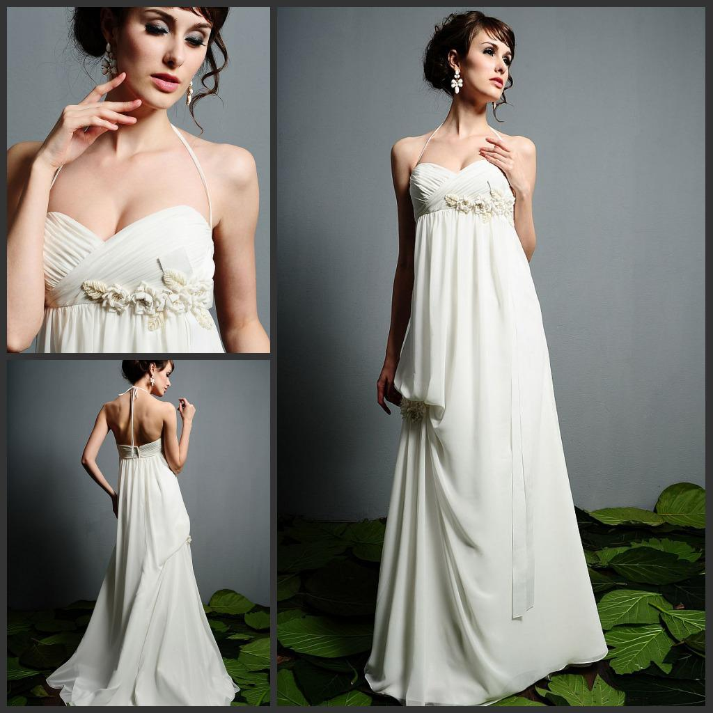 Discount Best Selling Halter Empire Waist Beading Chiffon
