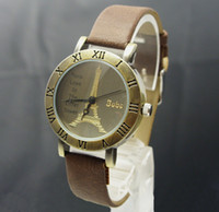 Wholesale Womens Vintage Brown Leather Watches - Fashion style vintage watches unique design retro womens watch 004
