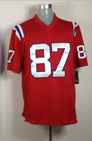 Wholesale Cheap Football Jerseys Wholesale - 2012 Elite American Football 87 Red Jerseys Rugby Cheap Men Jersey Mix Orde