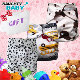 Wholesale Minky Diapers Inserts - Promotion Baby Production-2013 Best Quality Mix Color Cloth Diapers Minky Nappies With Insets 3 sets+1 pcs insert as Gift