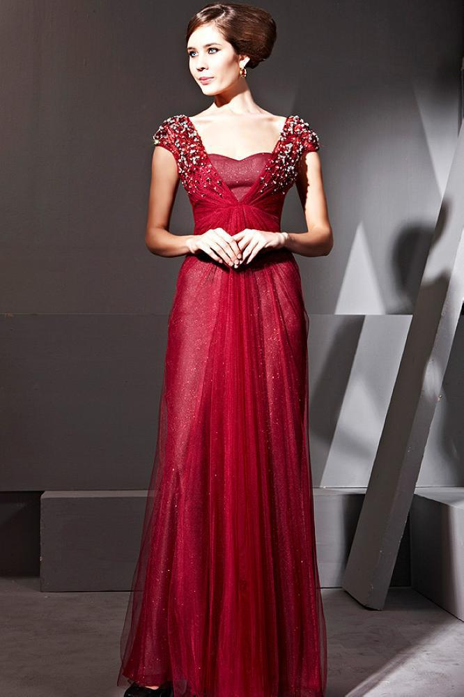 Hot Sale2013 Cap Sleeves Beads Party Dresses Gown Elegant Royal ...