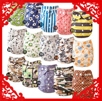 Wholesale Diapers Pcs Nappies - Wholesale-Christmas Lovely Mimibaby baby cloth diaper printed color nappy 15 pcs lot free shipping