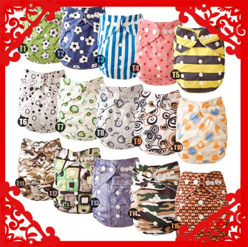 best selling Wholesale-Christmas Lovely Mimibaby baby cloth diaper printed color nappy 15 pcs lot free shipping
