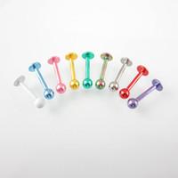 güzel delici toptan satış-100 adet Karışık Renk Labret Damızlık Küresel Dudak Yüzük 316L paslanmaz çelik Sıcak Satış Güzel Vücut Jewelr