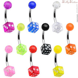 Wholesale Body Piercings - Navel Belly Bar Dice belly ring Body piercing Jewelry 7 color in stock100pcs lot Fancy Belly Button