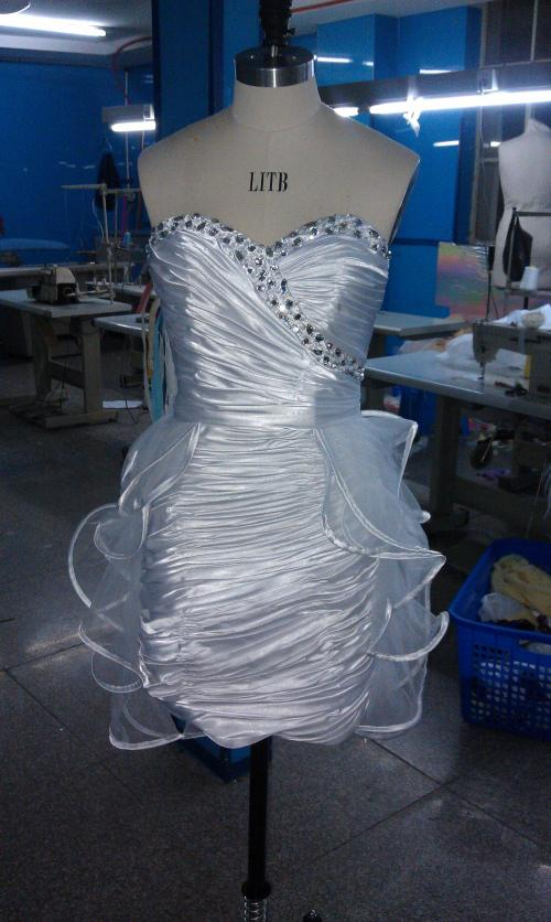 Hot Sale Real Sample Strapless Beading Ruched Charmeuse Tulle Mini Graduation Dresses white