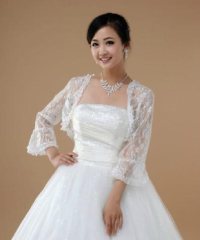 2018 Red And White Lace Bridal Jackets Wraps Long Sleeves Illusion Bolero Trumpet Cuff From Bride Wedding 2796