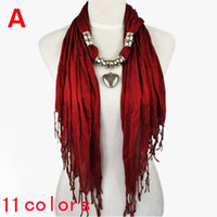 Wholesale Scarf Alloy Charms - Christmas Gift! beautiful color design antique silver jewelry heart pendant charm scarf necklace for ladies ,11 colors,NL-1802