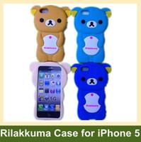 Wholesale Iphone Cases Rilakkuma - Wholesale 3D Rilakkuma Case for iPhone 5 Lazy Bear Soft Silicone Cover Case for iPhone 5 10pcs lot