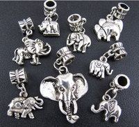 Wholesale Elephant Animal Bracelet - Mixed Elephant Big Hole Dangle European Beads 80pcs lot Tibet Silver Fit Charm Bracelet Loose Beads
