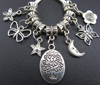 Charms Hole Star Pas Cher-Moon Tree Star Butterfly Charms Big Hole Beads 100PCS / lot Tibetan Silver Fit European Bracelet 2013011727