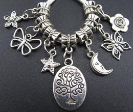 Wholesale Silver Star European - Moon Tree Star Butterfly Charms Big Hole Beads 100PCS lot Tibetan Silver Fit European Bracelet 2013011727