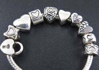 100pcs lot Tibetan Silver Heart Spacer Big Hole Beads Metal Alloy Bead Fit European Bracelet Jewelry DIY