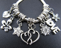 140pcs / lot Heart Love Star Rose Metal Big Hole Charms Beads Tibetan Silver Fit European Bracelet