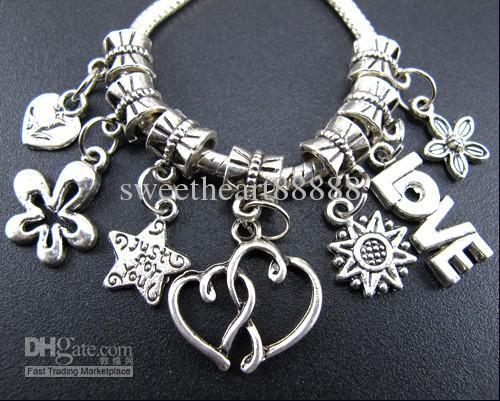/ heart love star rose metal big hole charms pärlor tibetansk silver passform europeiskt armband