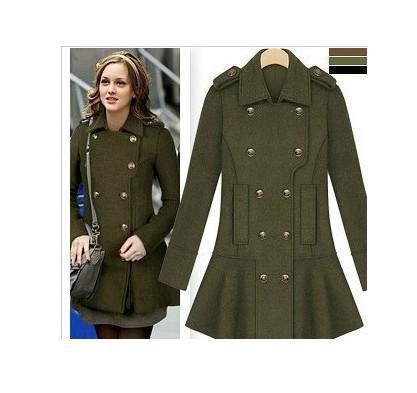 2018 Gossip Girl Fashion Military Coat Women 's Slim Double ...