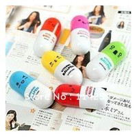 Wholesale Pill Pens - FreeShipping 2013 Office supplies Retractable pen Ball point cartoon Telescopic face Capsule pills P