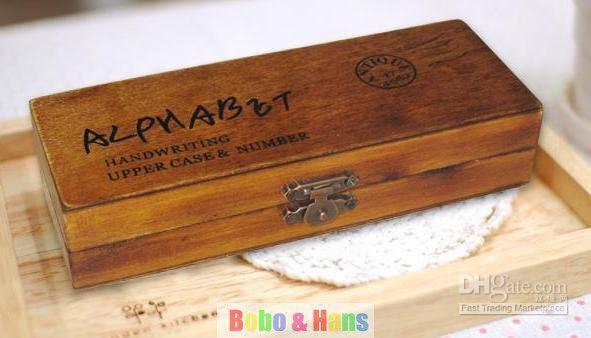 Free Shipping/NEW 42 pcs/set Creative Alphabet & number stamp set III / wooden box / Decorative DIY