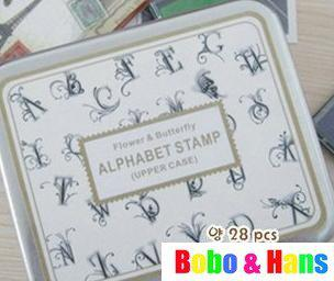 Free Shipping/NEW 28 pcs/set Creative flower & butterfly stamp set / Tin case box/Decorative DIY sta