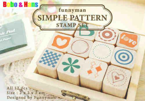 top popular Free Shipping New 12 pcs set funnyman simple pattern stamp set   wooden box   Decorative DIY funny w 2021