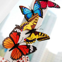 Wholesale Sticker Magnets - 3D Simulation Butterfly Fridge Magnets Refrigerator Magnet Sticker Decoration Toy Free Shipping