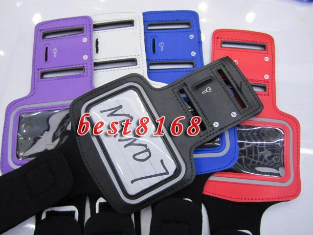 Protecteur Noir Sport Courir GYM Arm Band Doux Pour Apple Ipod nano 7 nano7 Brassard PU Cuir Veste Pochette cas bracelet peau téléphone portable de luxe