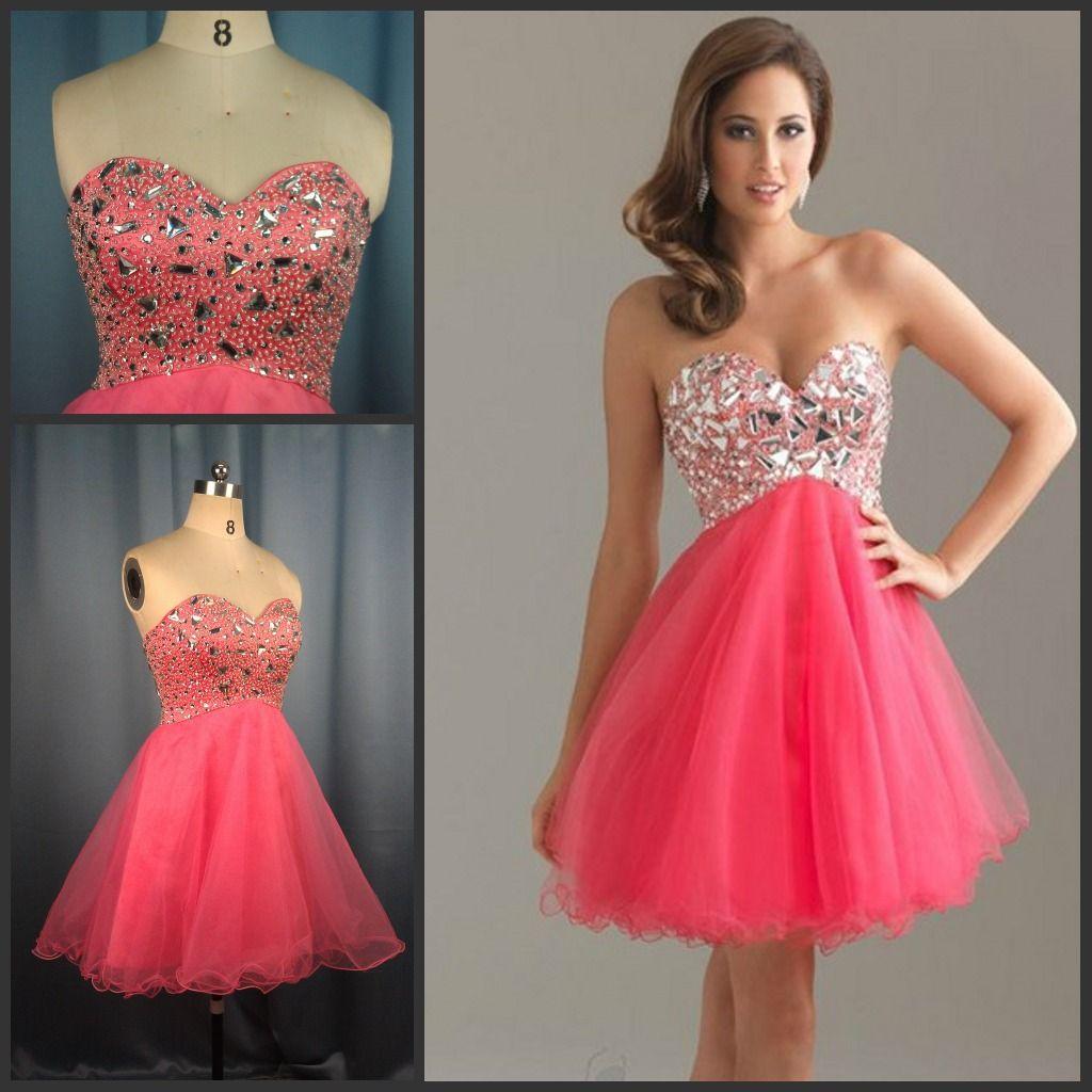 Best selling custom made pink diamond beading tulle short homecoming ...