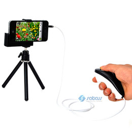 Wholesale Shutter Cable For Iphone 4s - 10pcs lot iPhone 4 4S Video Camera Mini Tripod Stand Holder + Shutter Release Cable
