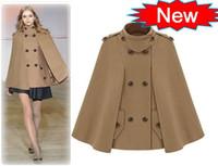Wholesale Double Breasted Coat Camel - Fashion Women Winter Cloak Coat Outwear Camel Stand Collar Joker Elegant Clothes Wool Coat
