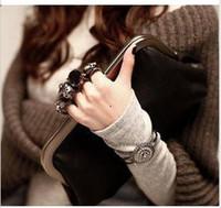 Wholesale Handbag Women Skull Clutch - New Skull Knuckle Rings women Handbag Clutch Evening Bag with chain, Pu Leather Purse Wallet HB1007