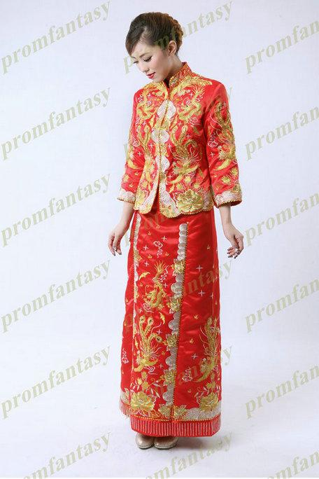 2013 2014 New In Stock/Custom Made Two Piece Exquisite Retro Phoenix Embroidered Long Sleeves Traditional Chinese Wedding Dresses