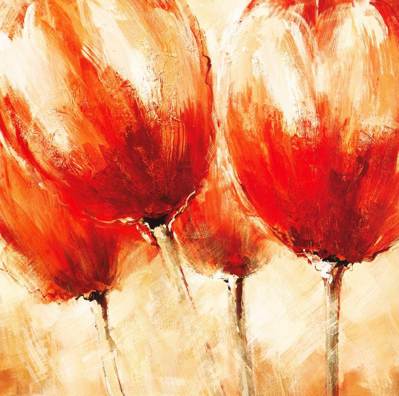 2018 Abstract Red Tulip Painting Impressionism Painting