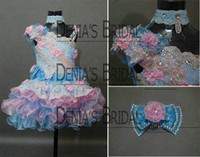 Wholesale Lace Cupcake Lines - 2013 Real Kids Pageant Dresses Little Girls Cupcake Dress Pink and Blue with Free Bow Comb