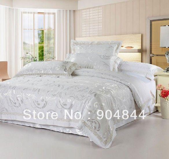 Noble Silk Cotton Bedding Set Luxurious Jacquard Comforter Set/duvet Cover  Sets/bed Linen/bed Sheet Silver White Color Noble Silk Bedding Set White  Bedding ...