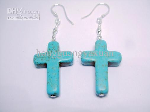 charme élégant style boucle d'oreille en crochet de perles de turquoise.ETS-O54