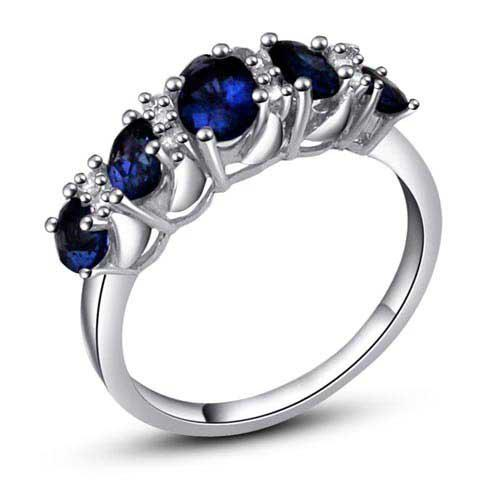 Sterling Silver 925 Fashion Ring Women Natural Sapphire Ring