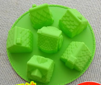 Wholesale Muffin Cookies - 6 house hut Silicone cake mold muffin cupcake cake cookie ice chocolate mold mould