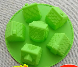 Wholesale Cupcakes Icing - 6 house hut Silicone cake mold muffin cupcake cake cookie ice chocolate mold mould