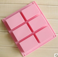 Wholesale Cake Squares - DIY square Silicone mold Soap Baking Mold Cake Pan Molds Handmade Biscuit mould 6 cavities