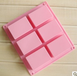 Wholesale Rubber Soap Molds - DIY square Silicone mold Soap Baking Mold Cake Pan Molds Handmade Biscuit mould 6 cavities