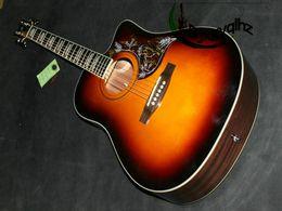 Wholesale Tobacco Sunburst - On sales Acoustic guitar birds guitar in Sunburst Free shipping