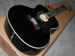 Wholesale Acoustic Factory - On sales black Acoustic guitar J200 guitar in BLACK j200 Guitar China Factory Free shipping