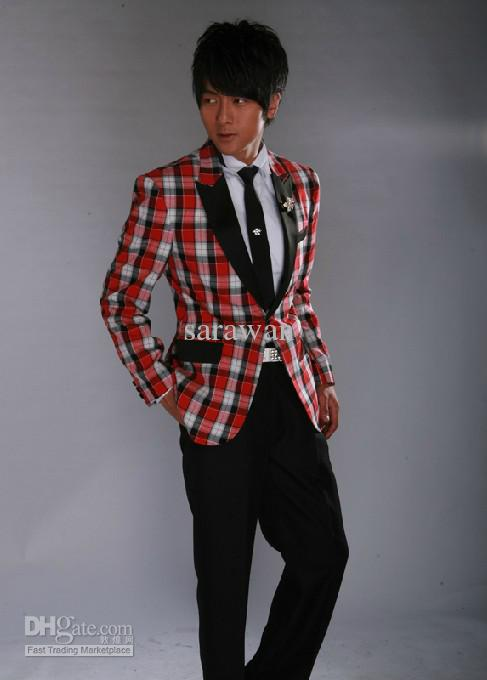 Custom Made Red White Black Mens Checkered Suit,Groom Tartans ...