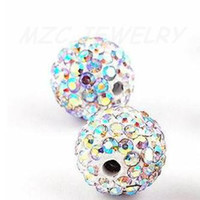 Wholesale Disco Ball Pave Crystal - Free shipping Crytal AB 100pcs lot 10mm Micro Pave CZ Disco Ball Crystal Bead.8D74 Best bead jewelry.