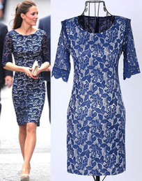 Wholesale Kate Middleton Neck - Spring New Fashion Women Clothing Kate Middleton Lace Dress Lady Elegance Leggings Slim Blue Celebrity Dresses