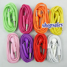 Wholesale Earphone 4g - Earphone Headphone headset 3.5mm with mic Colorful Earphones for iphone4 4G 4S 5G 5S 5C 6G 6S 4.7 5.5 Microphone in stock
